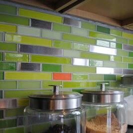 Signature Line Steel Glass Subway Tile In Green