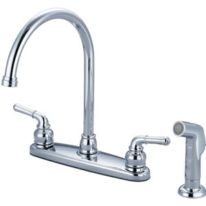 Olympia Faucets Double Handle Centerset Kitchen Faucet with Side Spray