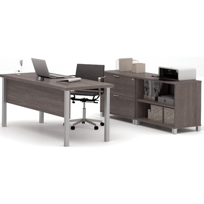 Wrought Studio Pham 3-Piece Desk Office Suite Color: Bark Grey