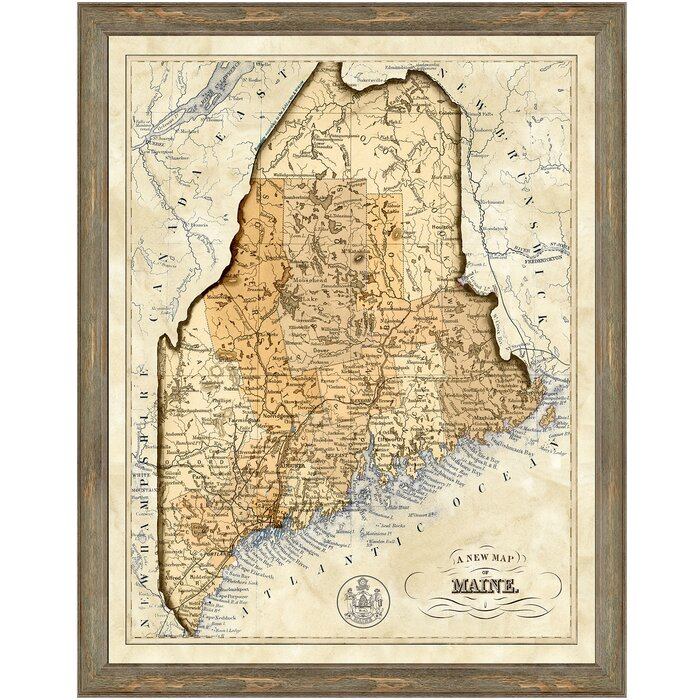 graphic relating to Printable Map of Maine called Map of Maine Framed Impression Artwork Print