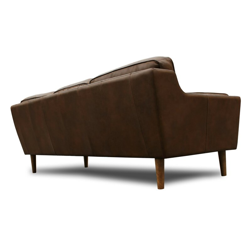Warren Mid Century Modern Leather Sofa Reviews Joss Main