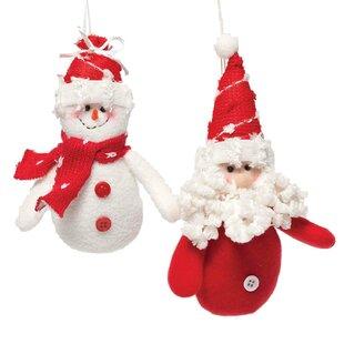 44445531d8a 2 Piece Jolly Plush Santa Snowman Ornament Set
