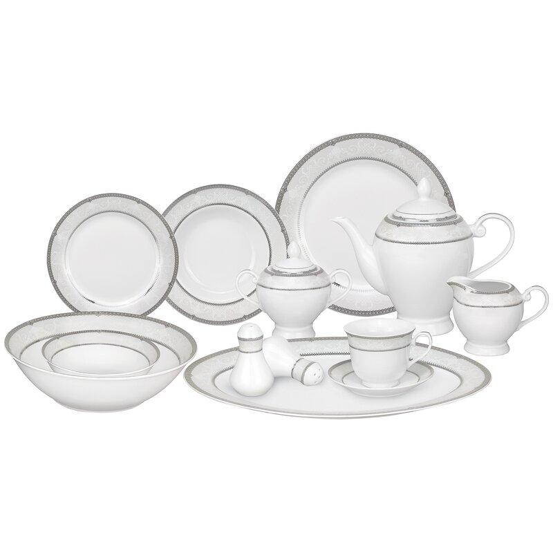 Ballo Porcelain 57 Piece Dinnerware Set Service for 8  sc 1 st  Wayfair & Lorren Home Trends Ballo Porcelain 57 Piece Dinnerware Set Service ...