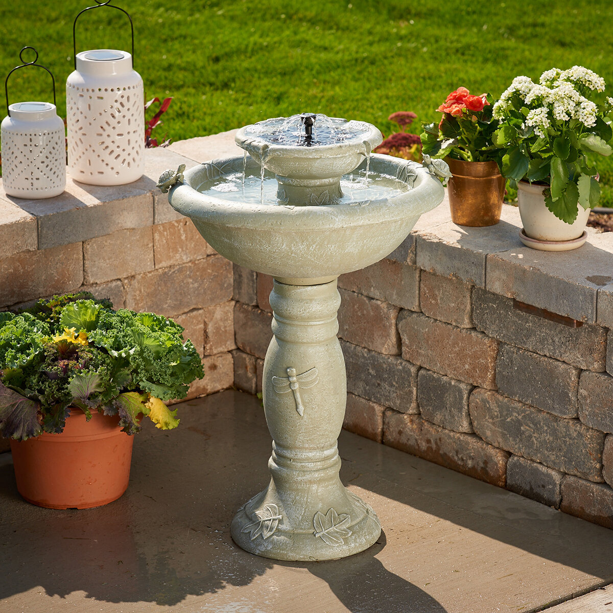 Smart Solar Resin Solar Country Gardens Two Tier on Demand Fountain ...