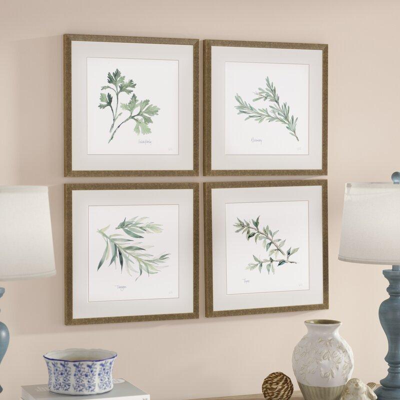 Bathroom Art Print Set Of 4: 'Herbs' 4 Piece Framed Graphic Art Print Set & Reviews