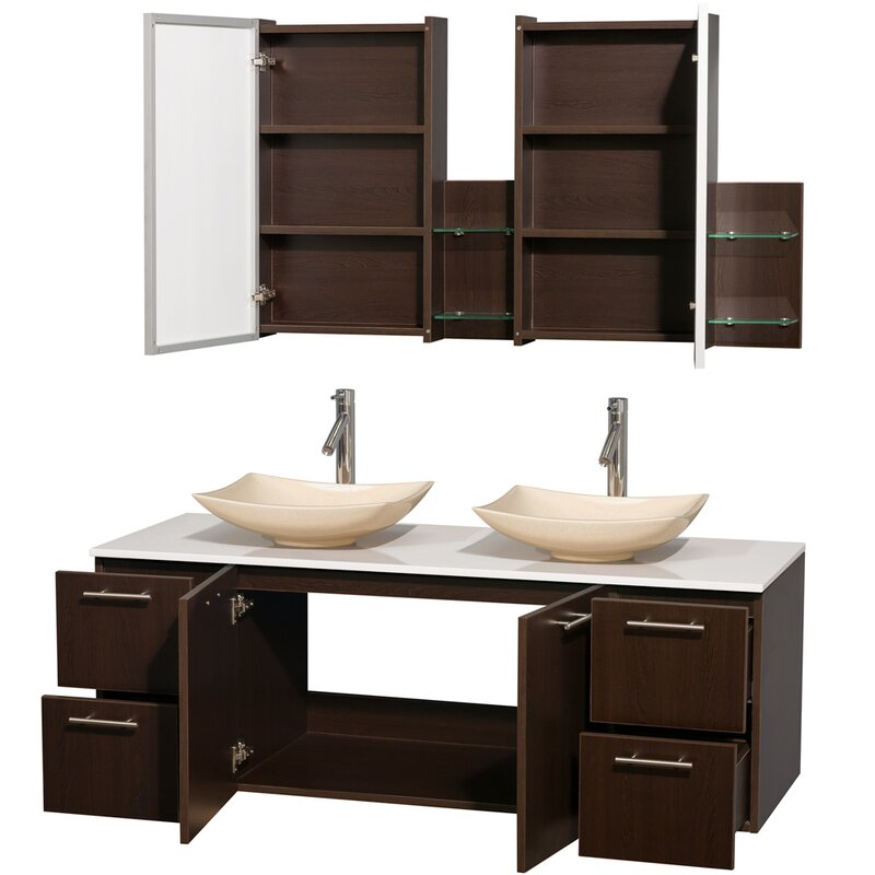 Wyndham collection amare 60 double espresso bathroom vanity set with medicine cabinet reviews for Espresso bathroom medicine cabinet