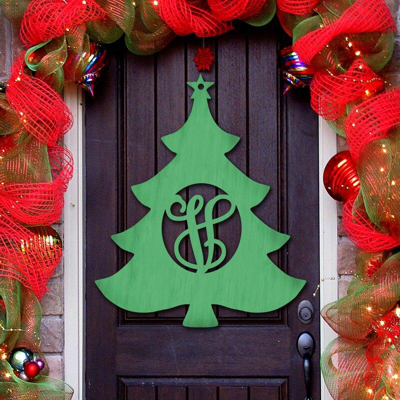 christmas tree 3 letter wooden monogram sign