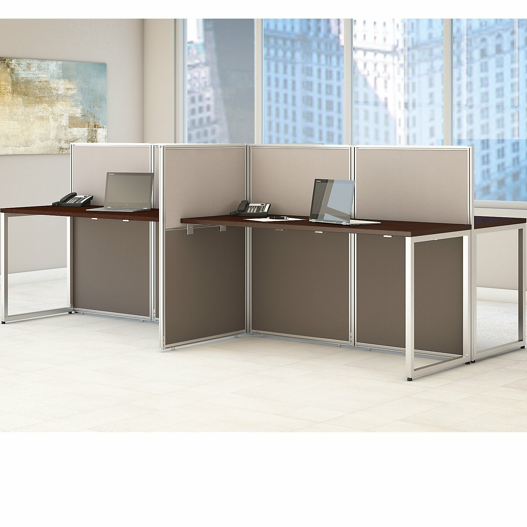 Bush Business Furniture Easy Office 60w 4 Person Straight Desk Open Wayfair