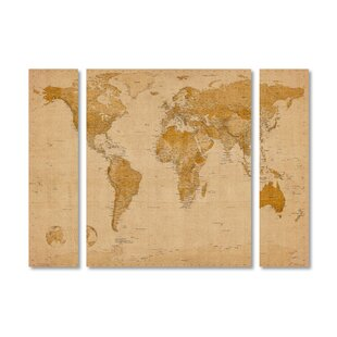 3 piece world map wall art youll love wayfair antique world map by michael tompsett 3 piece graphic art on wrapped canvas set gumiabroncs Images
