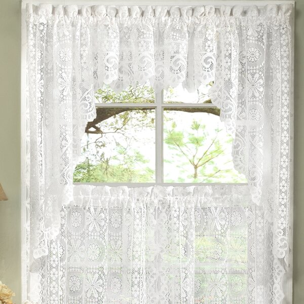 Sweet Home Collection Old World Style Floral Heavy Lace Kitchen Curtain Swag  U0026 Reviews | Wayfair