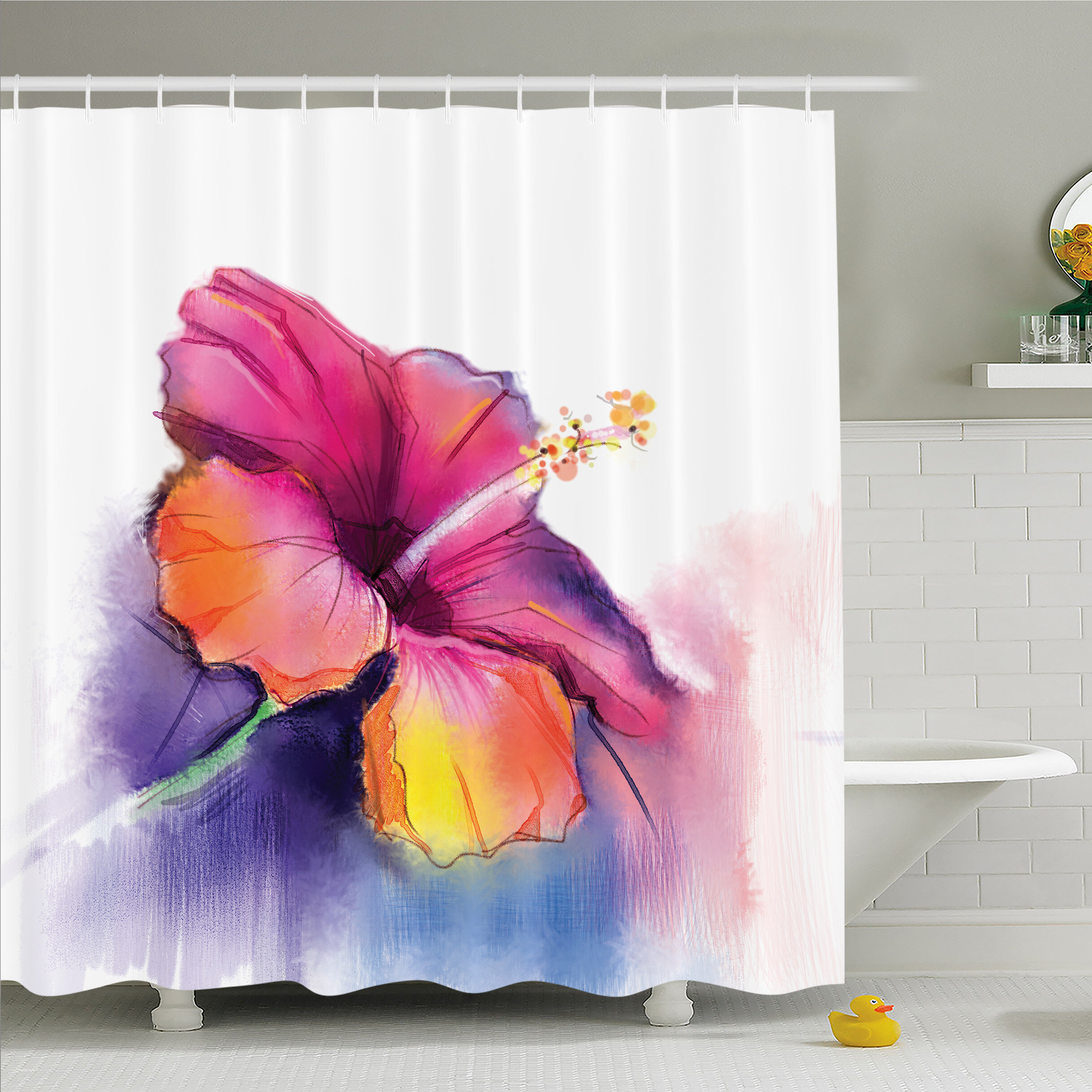 Ambesonne Watercolor Flower Home Hibiscus Flower In Pastel Abstract