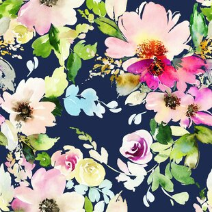 Floral botanical wallpaper youll love wayfair mayna removable blossoms watercolor 833 l x 100 w peel and stick wallpaper roll mightylinksfo