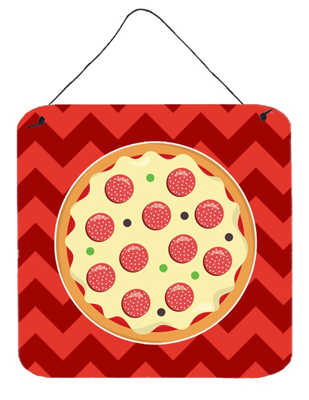 East Urban Home Pizza on Red Background Wall Décor & Reviews | Wayfair