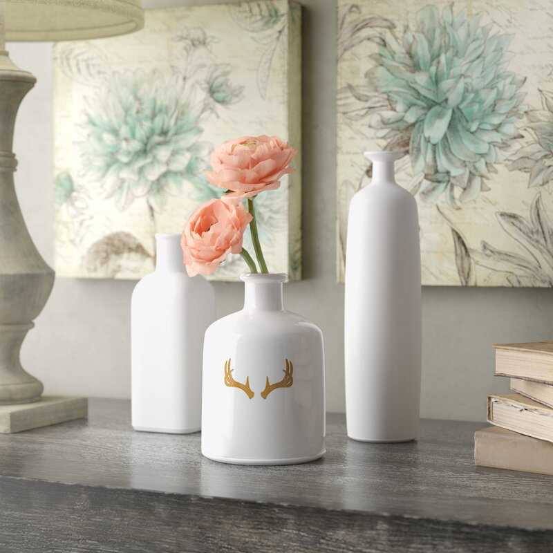 Lark Manor 3 Piece White Table Vase Set Amp Reviews Wayfair