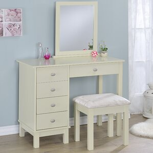 white desk vanity with mirror. Gannaway Vanity Set with Mirror White Tables You ll Love  Wayfair