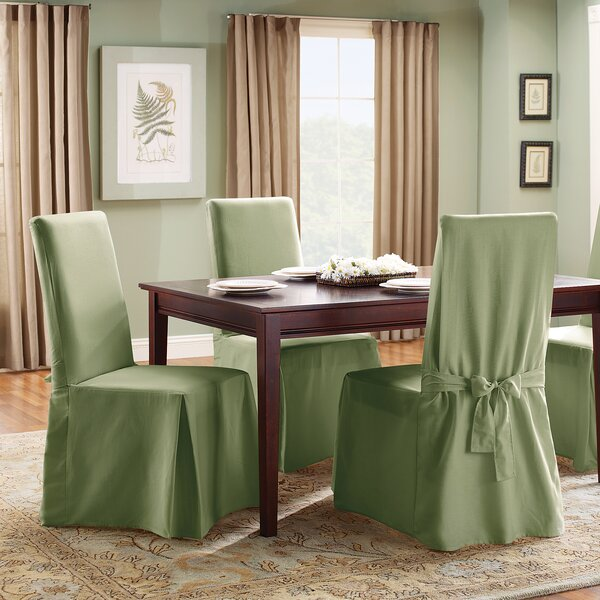 sure fit cotton duck full length dining room chair slipcover