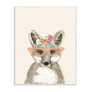 Woodland Fox With Cat Eye Glasses Wall Art
