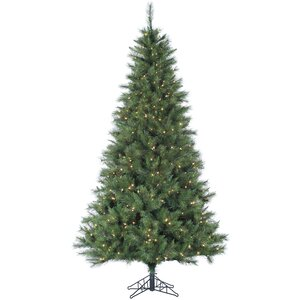 Pine 7.5' Green Artificial Christmas Tree with 550 LED Clear Lights and Stand