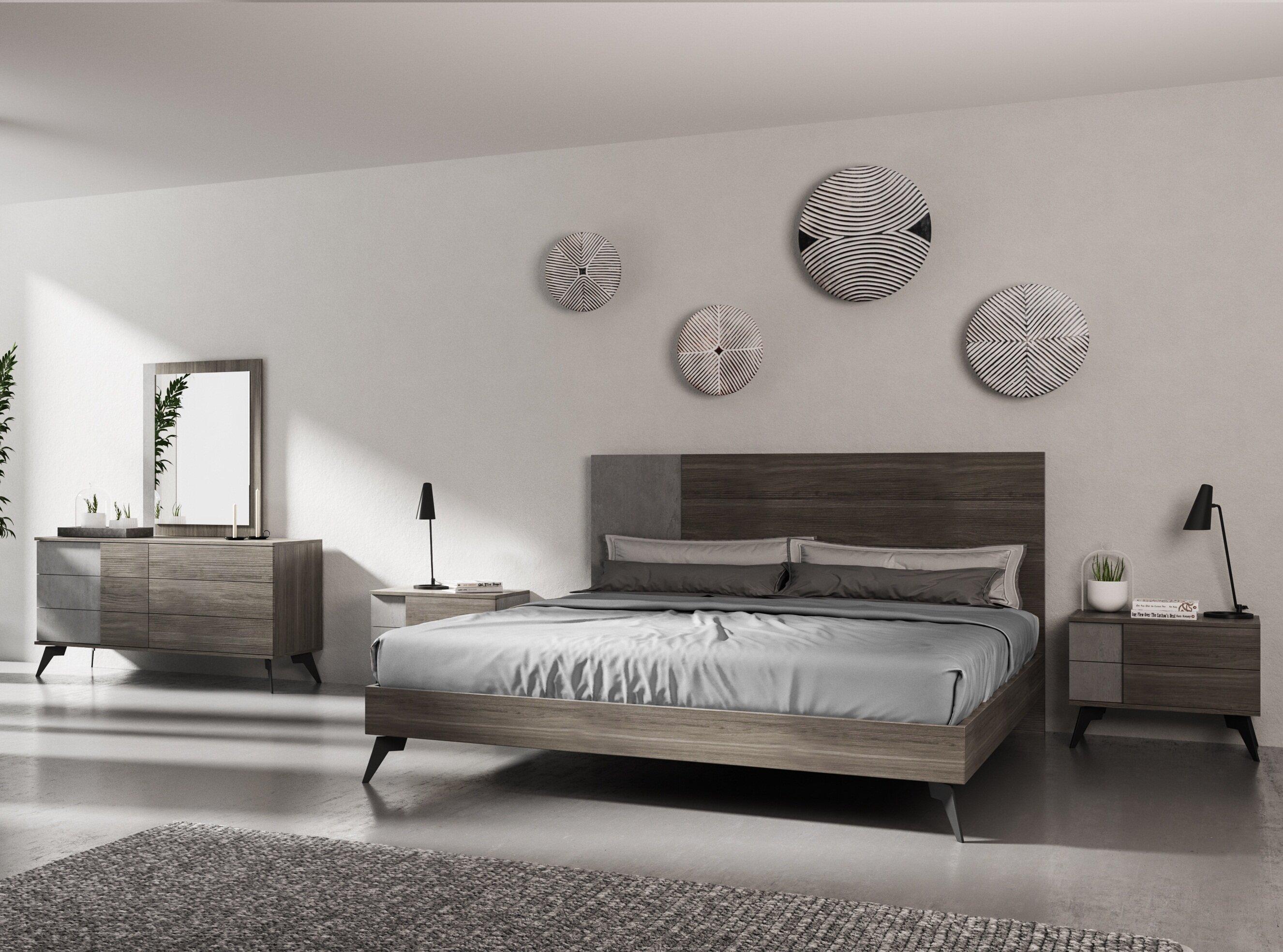 Bayport Italian Modern Platform 5 Piece Bedroom Set
