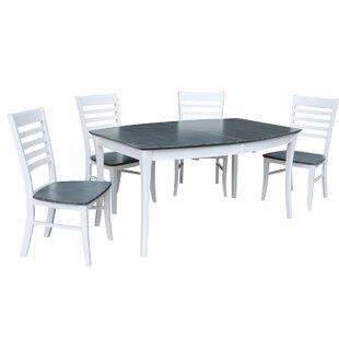 Rectangular 5 Piece Extendable Solid Wood Dining Set