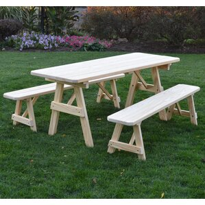 summerhill pine picnic table with 2 benches