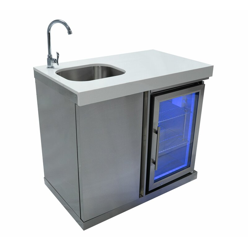 Mont Alpi Outdoor Bar Center With Sink And Fridge