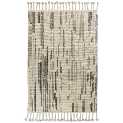 Loon Peak Faxon Hand-Knotted Wool Beige/Black Area Rug Rug Size: Rectangle 5' x 8'