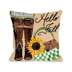 Perrine Boots Hello Fall Throw Pillow