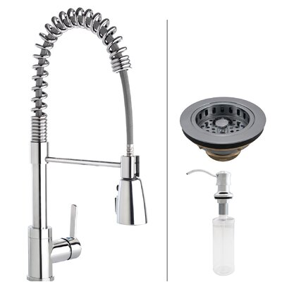 Essentials Commercial Style Pull Down Single Handle Kitchen Faucet With  Strainer And Soap Dispenser