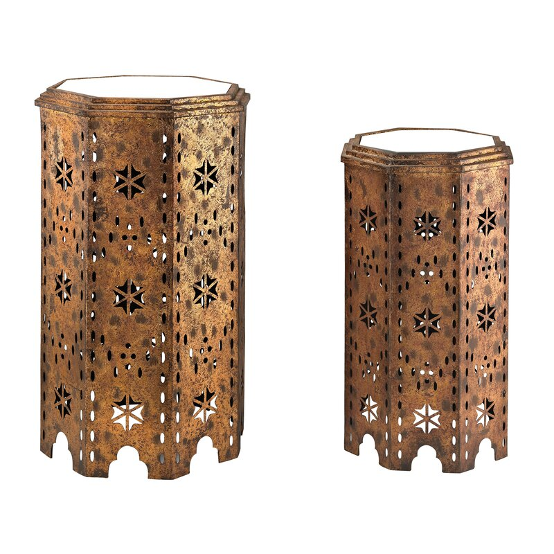 Laurier 2 Piece Moroccan Side Table Set