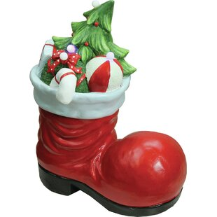 Christmas Morning Led Lighted Santa Boot With Presents Decorative Tabletop Figure
