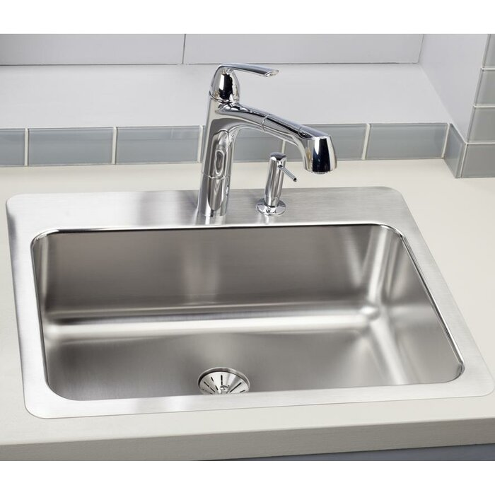 lustertone 27   x 22   drop in kitchen sink with perfect drain elkay lustertone 27   x 22   drop in kitchen sink with perfect drain      rh   wayfair ca