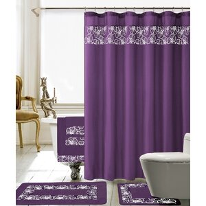 Elysee 18 Piece Embroidery Shower Curtain Set