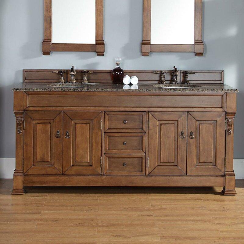 Bedrock 72 Double Country Oak Bathroom Vanity Set With Drawers