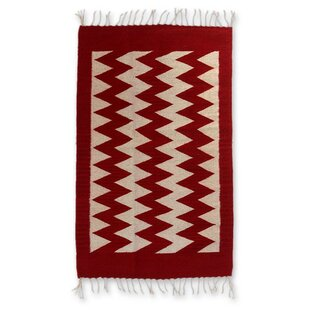 Savings Hand-Woven Red/White Area Rug By Novica