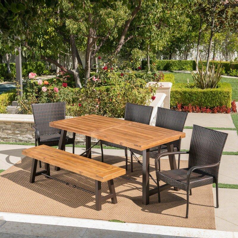 66e99a19b1 Brayden Studio Appleton Outdoor 6 Piece Dining Set & Reviews | Wayfair