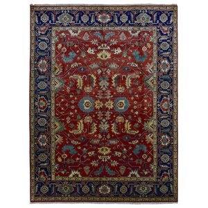 Violet Oriental Hand-Woven Wool Red Area Rugu00a0