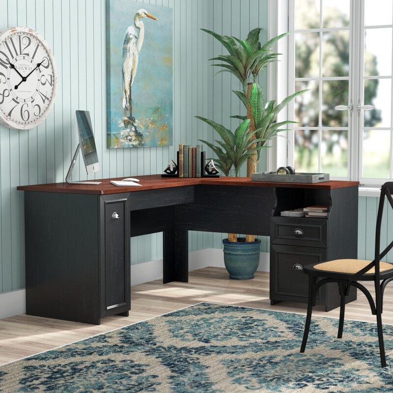 Beachcrest Home Oakridge L Shaped Computer Desk With Hutch
