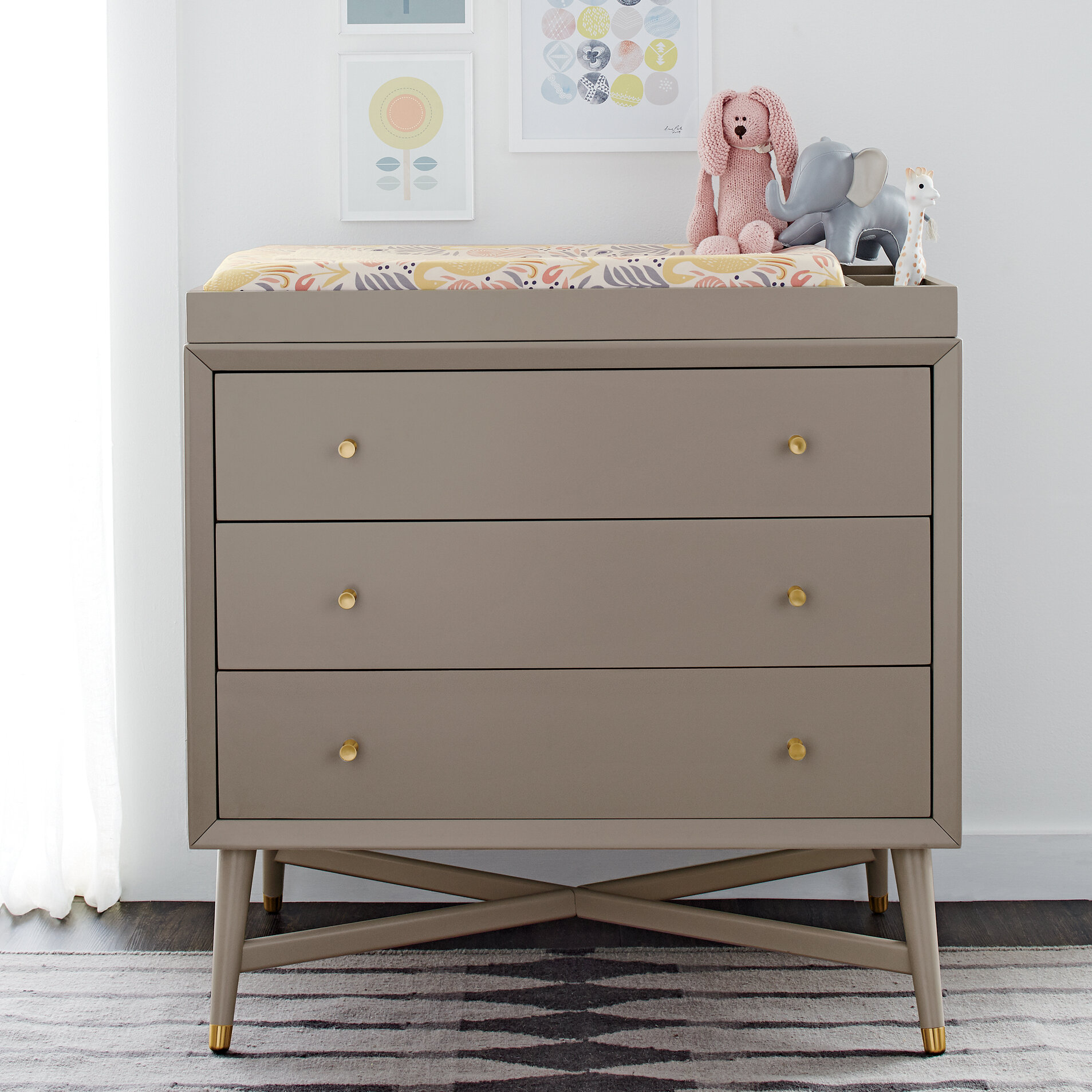 Dwellstudio Mid Century 3 Drawer Changing Dresser In French White
