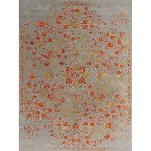 Artist Hand Tufted Silver/Orange Area Rug