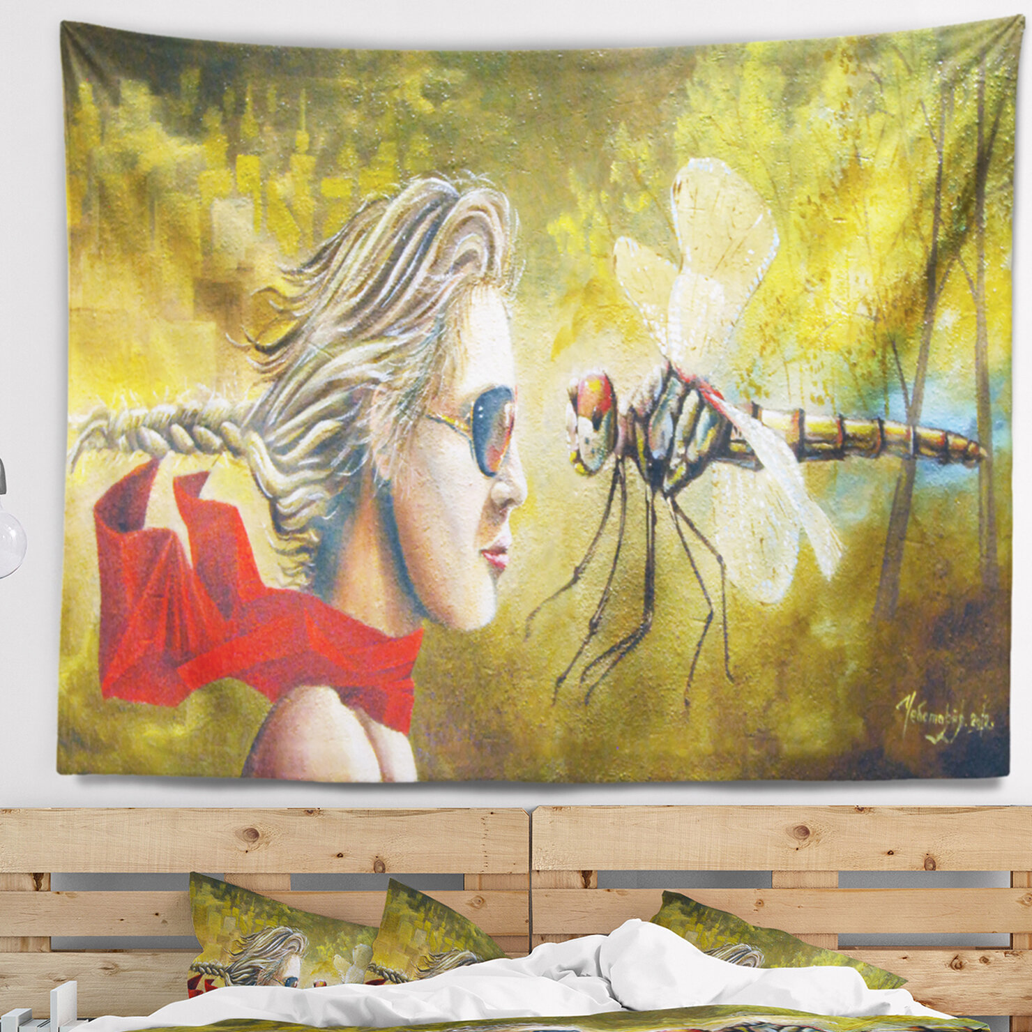 East Urban Home Abstract Human and Dragon Fly Tapestry and Wall ...