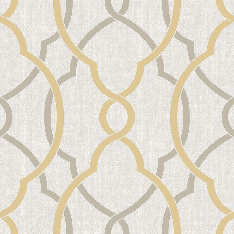 "Nu 18' x 20.5"" Sausalito Taupe / Yellow Peel and Stick Wallpaper"