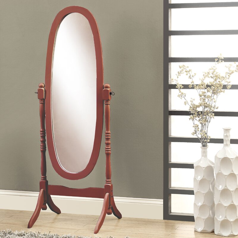 Oval Wood Frame Standing Mirror Antique Standing