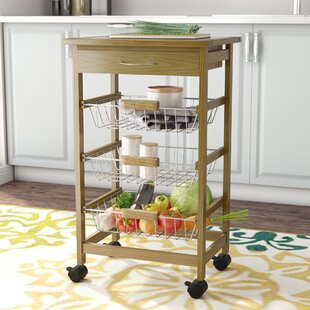 Stratford Kitchen Cart with Wood Top