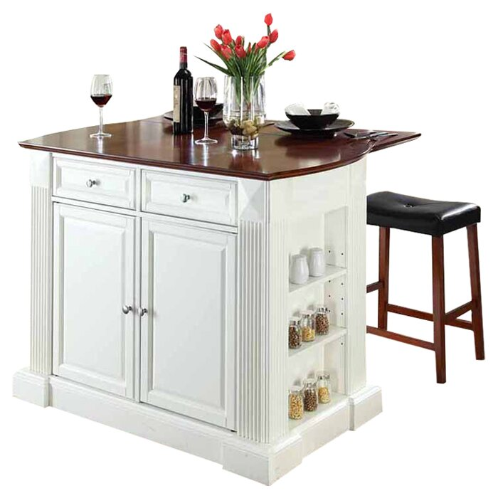 Byron Kitchen Island With Cherry Top And Saddle Stools