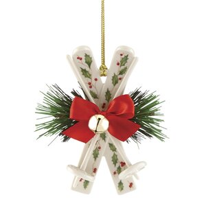 Holiday Skis Hanging Figurine Ornament