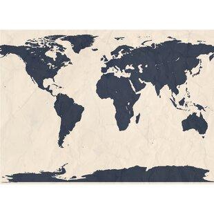 Navy World Map Wayfair