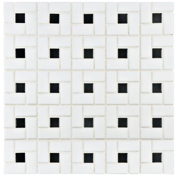 Elitetile Retro Random Sized Porcelain Mosaic Tile In White Black Reviews Wayfair