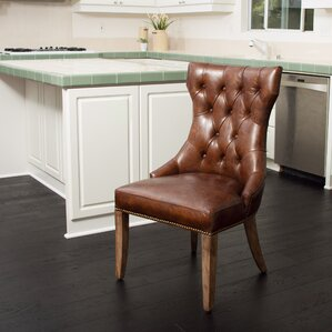 Berlin Genuine Leather Upholstered Dining Chair by Home Loft Concepts