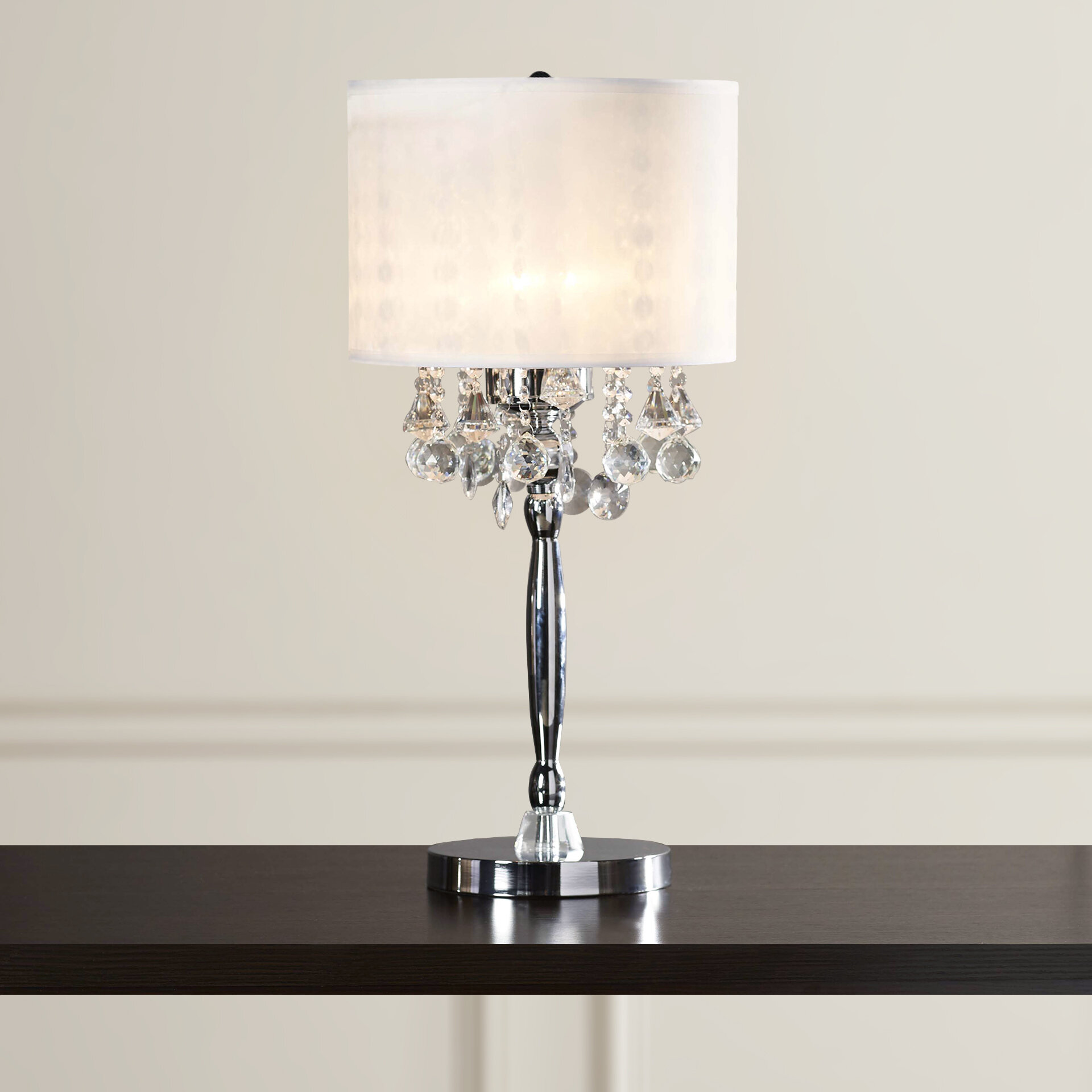 Willa Arlo Interiors Kitson Crystal 3 Light 30 Table Lamp With Drum